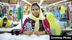 The popular store H&M is making changes to its business, including using more environmentally-friendly materials. At left is a worker at a factory in Bangladesh that makes clothes for H&M.