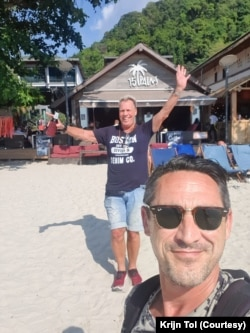 Colin Anderson (front) and Krijn Tol (back) regularly visit Thailand during the holiday seasons over the past 25 years.