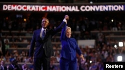 US President Barack Obama na Hillary Cliton mu Democrat National Convention