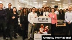 گردهمایی کارمندان بنیاد تامسون رویترز در دفتر مرکزی این بنیاد در لندن