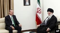 伊朗最高领导人哈梅内伊(右)与土耳其总统埃尔多安2014年1月29日在德黑兰举行会晤。