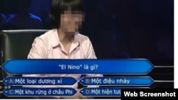 Hình chụp từ đoạn clip ngắn được cắt ra từ chương trình Ai là triệu phú của đài truyền hình VTV được chia sẻ hàng loạt nói về một cô gái không trả lời được 2 câu hỏi đầu tiên của chương trình.