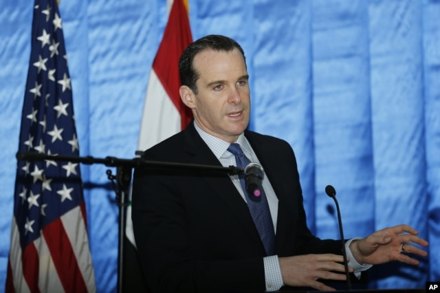 FILE - President Barack Obama's envoy to the U.S.-led coalition against the Islamic State, Brett McGurk, is seen speaking to reporters during a news conference.