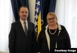 Ministrica vanjskih poslova BiH Bisera Turković i ukrajinski ambasador za BiH Vasilj Kirilič