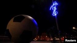 ကမာၻ႔ဖလားပြဲအထိမ္းအမွတ္ ေမာ္စကိုၿမိဳ႕ေတာ္ရွိ မီးအလွဆင္ ျမင္ကြင္းတခု။ ၁၁ ဇြန္ ၂၀၁၈