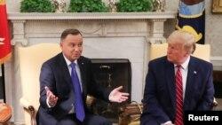 TT Mỹ Donald Trump và TT Ba Lan Andrzej Duda tại Phòng Bầu Dục, Tòa Bạch Ốc ở Washington, hôm 12/6/2019. REUTERS/Leah Millis