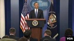 美國總統奧巴馬就財政懸崖和國會領袖商議後向媒體發表講話