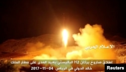 An image taken from a video distributed by Yemen's pro-Houthi Al Masirah television station on Nov. 5, 2017, shows what it claims was the launch by Houthi forces of a ballistic missile aimed at Riyadh's King Khaled Airport on Saturday.