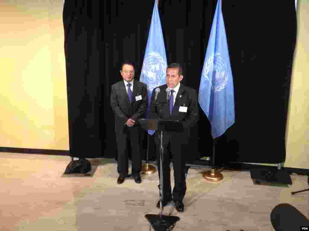 El presidente peruano Ollanta Humala habla en Naciones Unidas luego de visitar al secretario general de la organización, Ban Ki-moon. [Foto: Ramon Taylor, VOA].