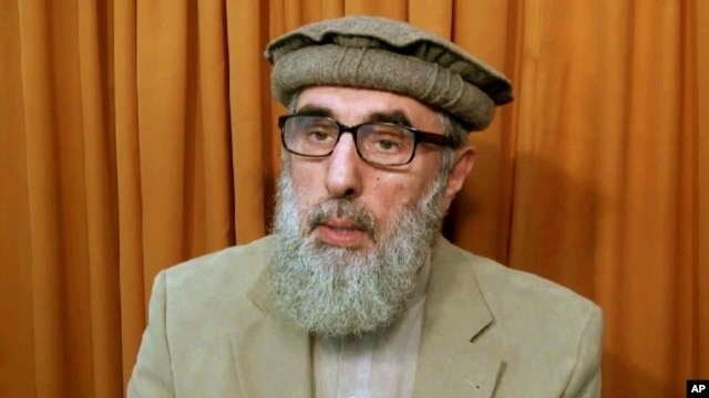 FILE - This image made from video released to the Associated Press during the week of Nov. 21, 2015 shows Afghan warlord Gulbuddin Hekmatyar, now in his late 60s, in an undisclosed location.