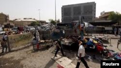 اتوار کو ہونے والے خودکش حملے کے بعد جائے واقعہ کا منظر
