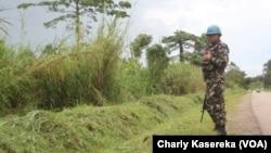 Un Casque bleu de la mission des Nations unies au Congo patrouille à Oicha. VOA / Charly Kasereka
