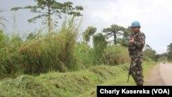 Un Casque bleu de la mission des Nations unies au Congo patrouille à Oicha, le 28 novembre 2015. (VOA / Charly Kasereka)