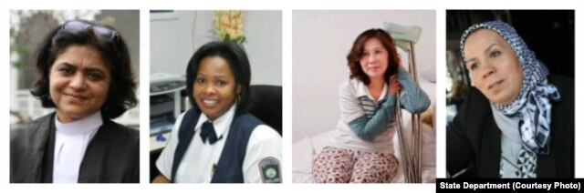 Women of Courage 2016 Awardees (L to R) Sara Hossain, Debra Baptist-Estrada, Ni Yulan and Latifa Iibn Ziaten.