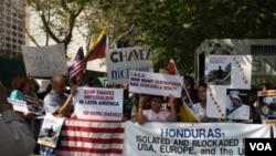 Ell presidente venezolano se encontraba en su hotel mientras la protesta se reallizaba.