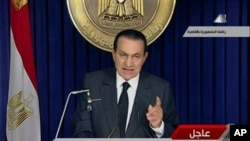 10 فروری، 2011، صدر حسنی مبارک قوم سے خطاب کررہے ہیں۔