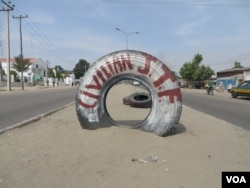 "Civilians have been defending their homes from insurgents in Nigeria for years, but more recently they have become known as the ""Civilian JTF,"" Maiduguri, Dec. 1, 2013. (Heather Murdock for VOA)"