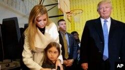 美国当选总统川普,女儿伊万卡和外孙女阿拉贝拉·库什涅尔(Arabella Kushner)