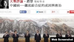 趙楚在香港東網上評論文章(網絡截圖)