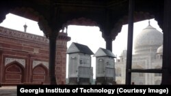 Air sampling equipment located in this section of the Taj Mahal complex was used to determine what was causing discoloration of the landmark structure.
