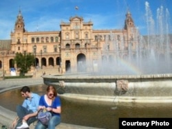 Frances Downey sits in the Plaza de España in Seville, Spain during her time studying there in 2007.
