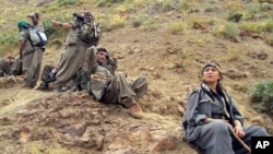 Rebels of the Kurdistan Workers Party, or PKK, in Turkey close to the border with Iraq, May 7, 2013.