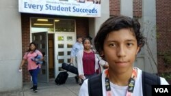Jonathan Zelaya, a student at George Washington Middle School in Alexandria, Va., has heard differing messages related to the U.S. presidential race. (C. Guensburg/VOA)
