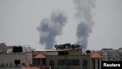 Smoke rises following an Israeli airstrike in Gaza, May 29, 2018.