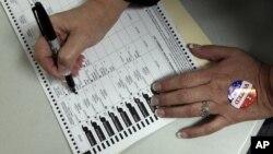 Голосует житель города Батавиа в штате Нью-Йорк. 6 ноября 2012 г.