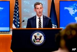 FILE - State Department spokesman Ned Price speaks at the State Department in Washington, Aug. 18, 2021.