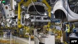Une usine Renault à Melloussa, dans le port de Tanger, le 12 mars 2018.