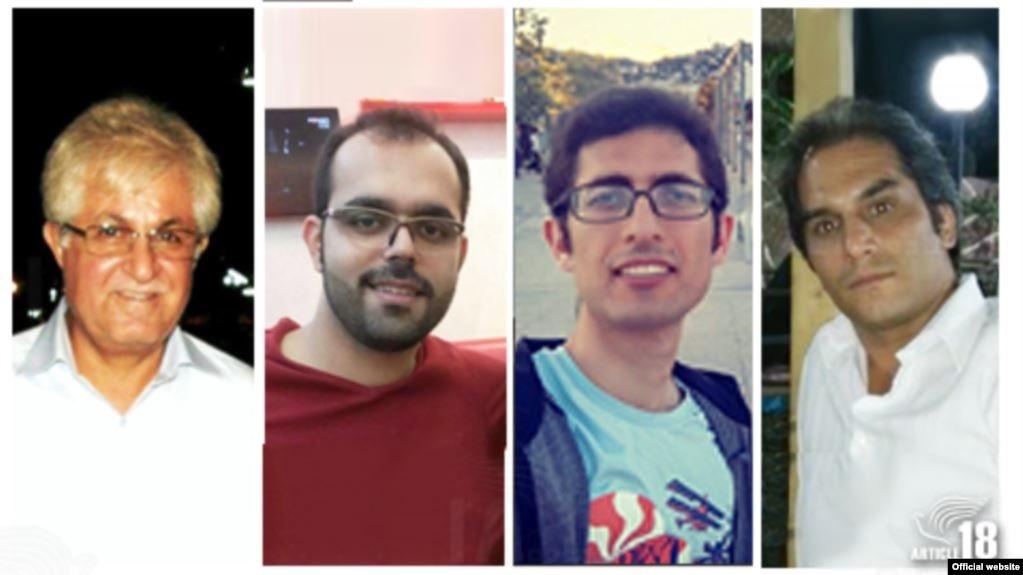 کشیش ویکتور بتتمرز، هادی عسگری، کاویان فلاح محمدی و امین افشار نادری- عکس از سایت سازمان «ماده ۱۸»