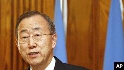 聯合國秘書長潘基文1月31日中東之行抵達約旦首都安曼在記者會上發表談話。