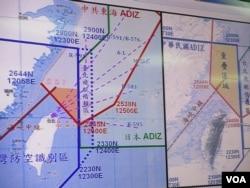 台湾和中国在东海防空识别区重叠的情形(美国之音张永泰拍摄)
