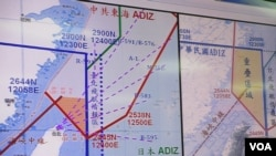 台灣和中國在東海防空識別區重疊的情形(美國之音張永泰拍攝)