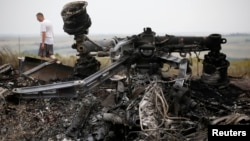 Debris is pictured at the site of Thursday's Malaysia Airlines Boeing 777 plane crash, near the village of Grabovo in the Donetsk region July 18, 2014. World leaders demanded an international investigation into the shooting down of Malaysia Airlines Fligh