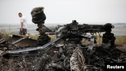 Debris at the site of Thursday's Malaysia Airlines Boeing 777 plane crash, near the village of Grabovo in Ukraine's Donetsk region, July 18, 2014.