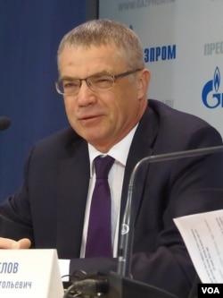 """天然气工业公司副总裁梅德韦杰夫曾表示,依靠自身力量兴建""""西伯利亚力量""""东线天然气管道。(美国之音白桦拍摄)"""