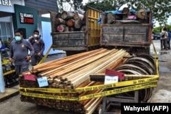 Polisi menunjukkan kayu gelondongan dan kayu gergajian pada konferensi pers di Pekanbaru, Riau pada 26 November 2020 setelah memberantas operasi pembalakan liar di kawasan konservasi di Kampar. (Foto: Wahyudi/AFP)