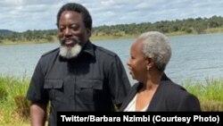 Mokolonzi ya kala ya RDC Joseph Kabila (G) na masolo na mokambi ya MONUSCO Bintou Keita na ferme ya Kashamata pene na Lubumbashi, Haut-Katanga, 14 avril 2021. (Twitter/Barbara Nzimbi)
