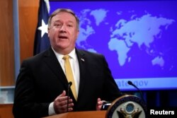 FILE - U.S. Secretary of State Mike Pompeo speaks at the State Department in Washington, Oct. 3, 2018.