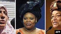 Từ trái: nhà tranh đấu nữ quyền Yemen Tawakkul Karma, nhà hoạt động Leymah Gbowee và Tổng thống Liberia Ellen Johnson Sirleaf