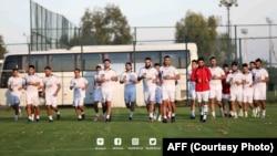 تیم ملی فوتبال افغانستان حین تمرین در شهر انتالیای ترکیه