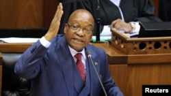 President Jacob Zuma gestures as he addresses the parliament in Cape Town, South Africa, Nov. 2, 2017.