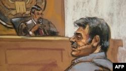 Манссор Арбабсіар (праворуч), один із двох іранців підозрюваних в організації замаху на посла Саудівської Аравії у Вашингтоні, постав перед судом у Нью-Йорку. Замальовка із залу суду.