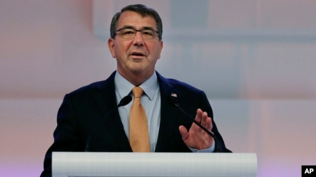 """U.S. Secretary of Defense Ashton Carter delivers his speech about """"The United States and Challenges to Asia-Pacific Security"""" during the 14th International Institute for Strategic Studies Shangri-la Dialogue (IISS) Asia Security Summit, May 30, 2015, in Singapore."""