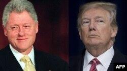 Le président Bill Clinton, à gauche, et le président Donald Trump, à droite.