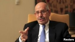 FILE - Mohamed ElBaradei speaks during an interview in his Cairo home.
