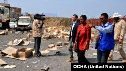 Utusan Kemanusiaan PBB Valerie Amos datang ke lokasi organisasi bantuan kemanusiaan di Malakal yang dijarah di Sudan Selatan, saat terjadi konflik di wilayah itu (28/1/2014).