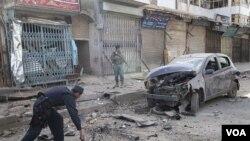 Polisi Afghanistan terlihat di sekitar lokasi kejadian ledakan di Kandahar, Selatan Kabul, Afghanistan (Foto: dok).